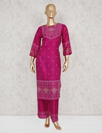 Punjabi palazzo suit in magenta cotton