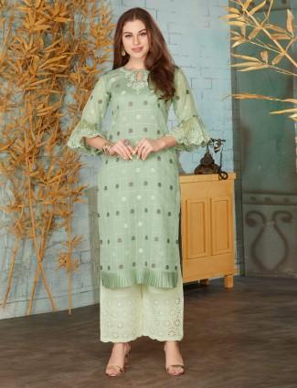 Punjabi palazzo suit in pista green cotton
