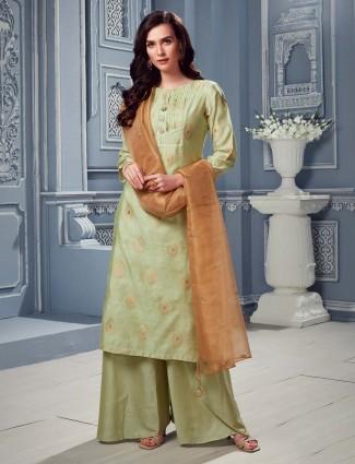 Punjabi palazzo suit in pista green for prettiest