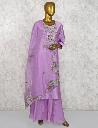Punjabi palazzo suit in violet