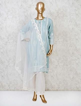 Punjabi palazzo suit set in sky blue cotton silk