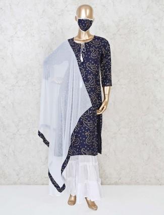Punjabi sharara suit in cotton navy printed