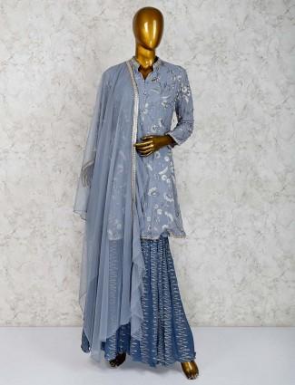 Punjabi sharara suit in grey hued