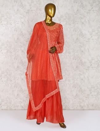 Punjabi sharara suit in orange hue