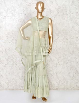 Punjabi sharara suit in pista green net