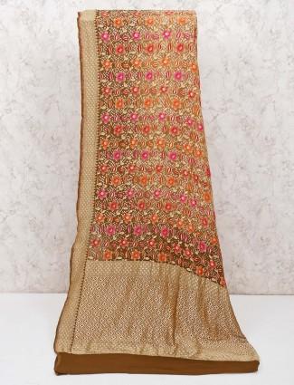 Pure banarasi silk olive wedding saree