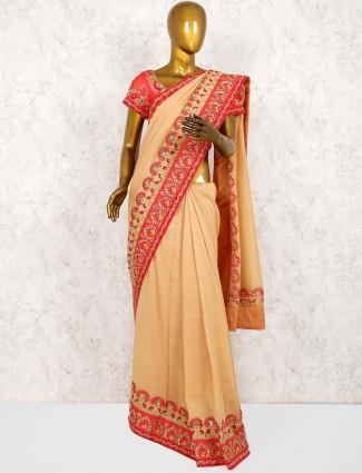 Pure silk pretty saree in beige hue