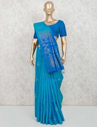 Pure silk reception wear saree in blue