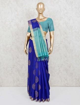 Pure silk royal blue saree for reception