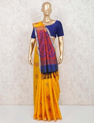Pure silk wedding saree in yellow
