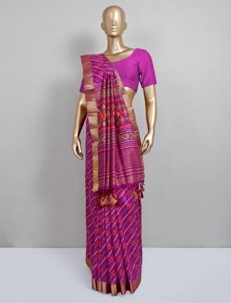 Purple cotton silk festive wear sari