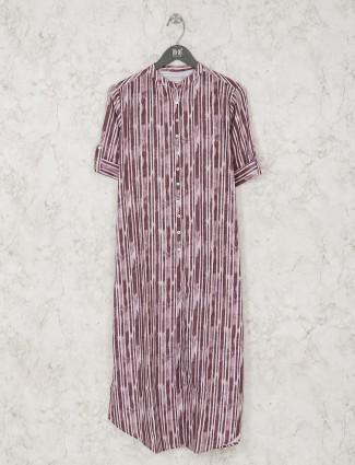 Purple Cotton striped kurti
