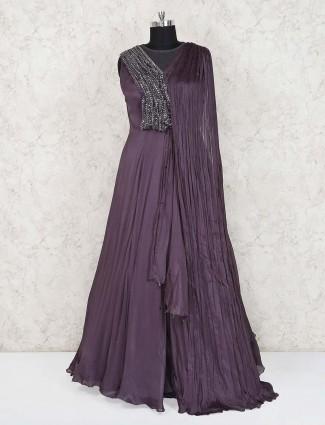 Purple designer georgette anarkali suit