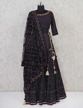 Purple designer georgette lehenga choli in wedding