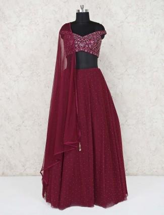 Purple designer net wedding or party lehenga choli