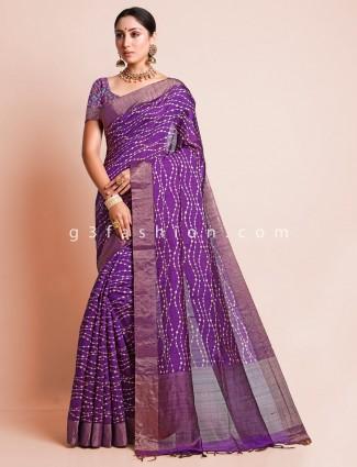 Purple festive wear south silk saree