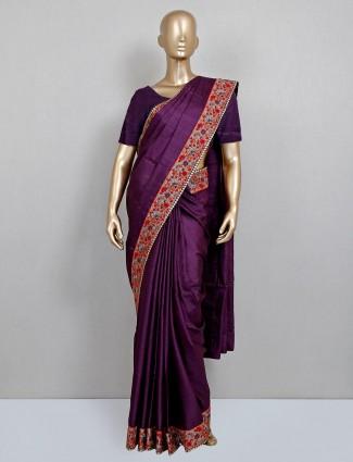 Purple handloom cotton saree for party look