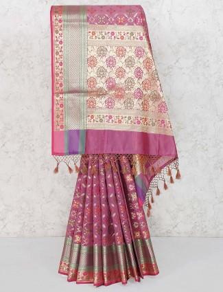 Purple hue banarasi semi silk festive saree