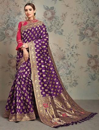 Purple hue pretty saree in silk