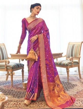 Purple kanjeevaram silk saree for wedding