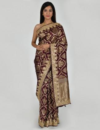Purple party wear tusser silk zari weaving saree