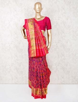 Purple patola silk reception wear saree