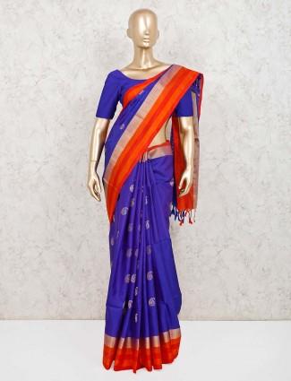 Purple pure silk reception wear saree