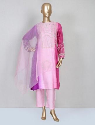 Purple raw silk wedding wear pant suit