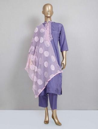 Purple silk festive wear pant suit