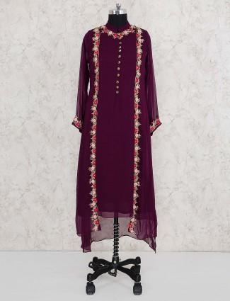 Purple wine designer salwar suit in georgette fabric