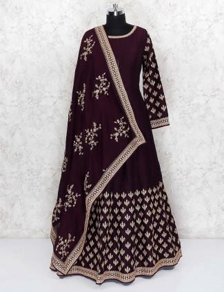 Purple wine raw silk floor length anarkali salwar suit