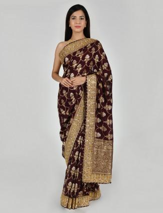 Purple zari woven art khadi silk saree