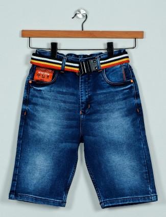 Rags dark blue washed denim shorts