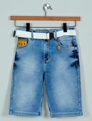Rags washed light blue denim shorts