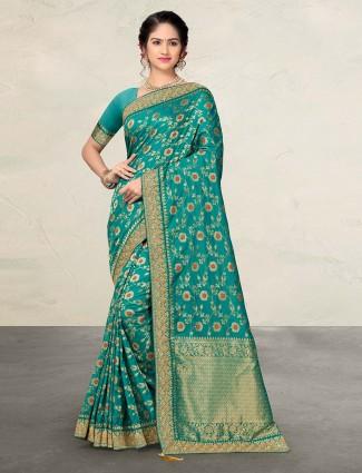 Rama banarasi silk saree with matching blouse piece