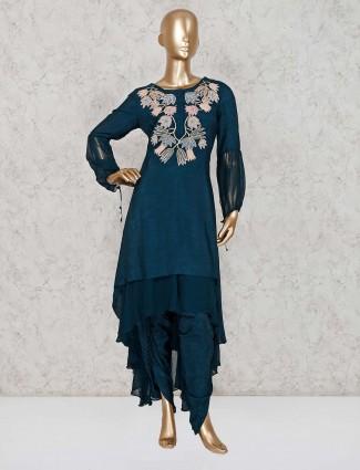 Rama blue dhoti suit in raw silk