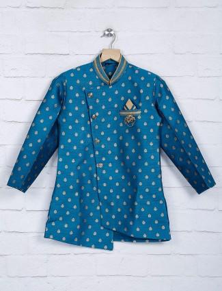 Rama blue hue raw silk fabric indo western