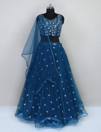 Rama blue net wedding lehenga choli for wedding