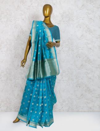 Rama blue pure silk wedding saree