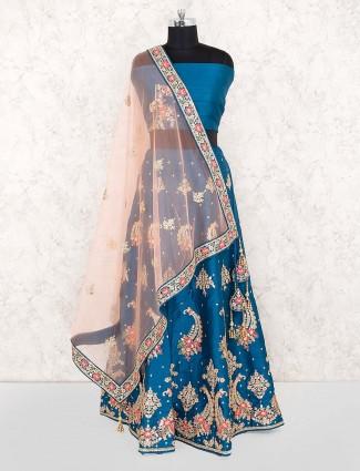 Rama blue raw silk fabric wedding lehenga choli