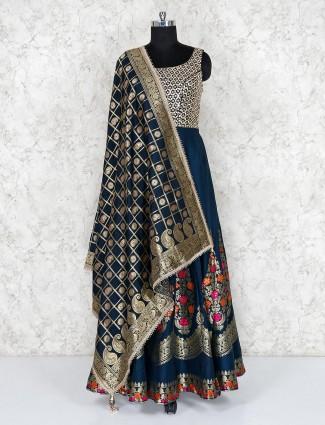 Rama green anarkali salwar suit in cotton silk