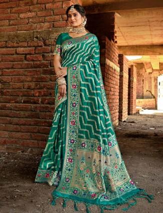 Rama green banarasi silk festive wear saree