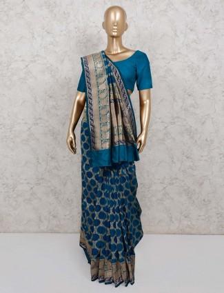Rama green banarasi silk saree for wedding