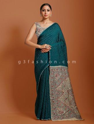 Rama green bandhej kalamkari saree