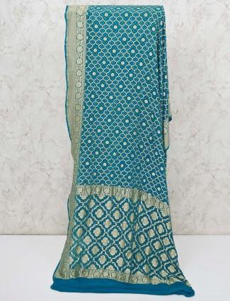 Rama green bandhej wedding saree