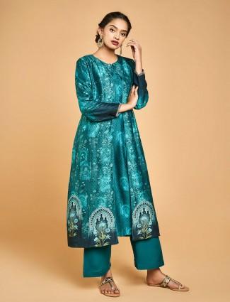 Rama green cotton silk jacket style punjabi suit