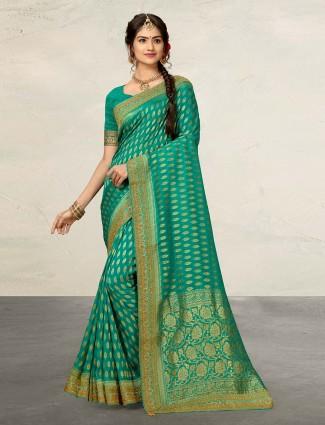 Rama green cotton silk saree for reception