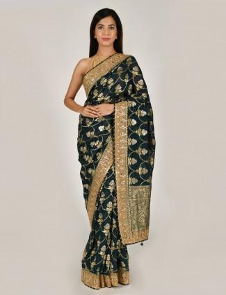 Rama green designer art khadi silk saree