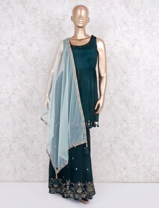 Rama green designer punjabi sharara suit