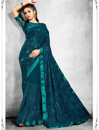 Rama green georgette party wear saree